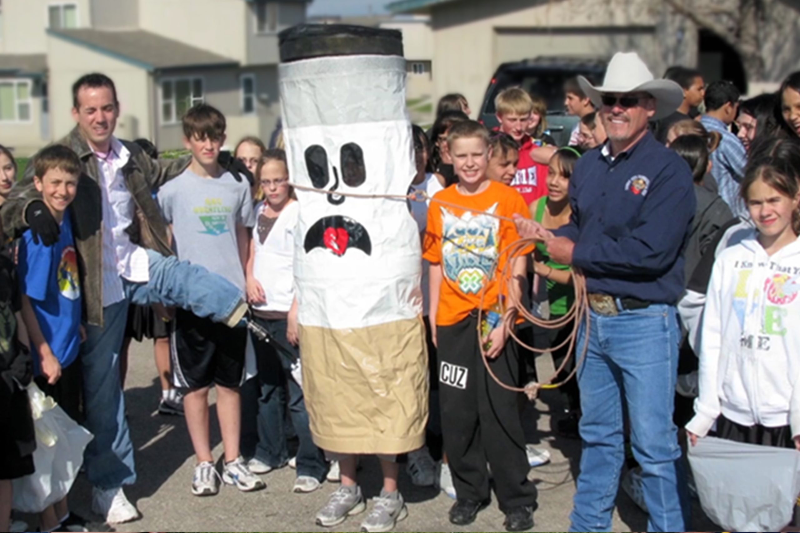 Cowboy Ted meeting with children to teach them about saying no to smoking.